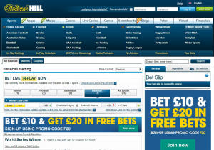 William Hill baseball betting page